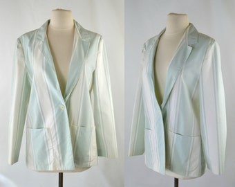 1980s Light Green and White Stripe Blazer by Act III, Boyfriend Blazer
