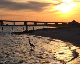 sunset - photography - wall art - sunset - photo - beautiful - crane - bridge - art - nature - ocean springs - gifts for everyone