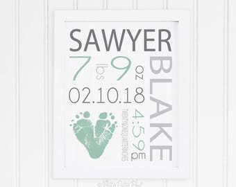 Baby Name Art Print, Baby Footprint Art, Personalized Birth Announcement Wall Art, Personalized with Your Child' Feet, 8x10 inches, UNFRAMED