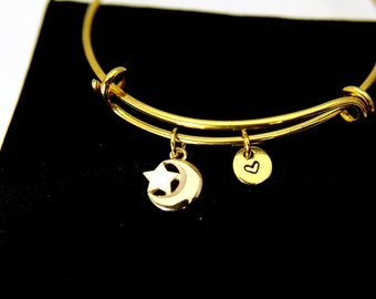 Gold Crescent Moon Star Charm and Initial Charm Bracelet, Crescent Moon Star Charm Bangle, Crescent Moon Star Charm, Half Moon Charm, B78