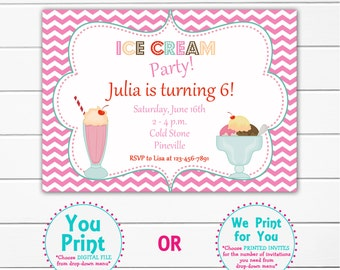 Ice cream party birthday Invitation -- ice cream  party ice cream social -- You print or I print