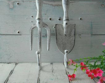 garden tool hooks aged white wall hooks she shed decor shabby hook coat hook french country rustic garden decor cottage chic shabby decor