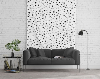 Wall Tapestry - Mini Star Print - Black on White - Small Medium or Large - Bedroom Decor Accessories Dorm Nursery Playroom