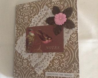Junk Journal, handmade Journal, Birds, Shabby Chic Journal, Travel Journal