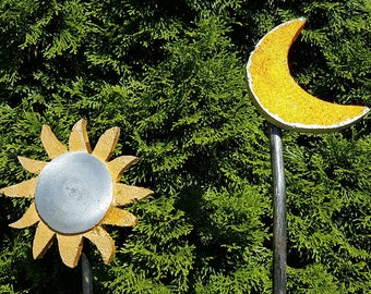 Radiant Sun and Crescent Moon