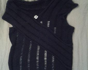 Black Shirt With Classic/Nero Knit Slip