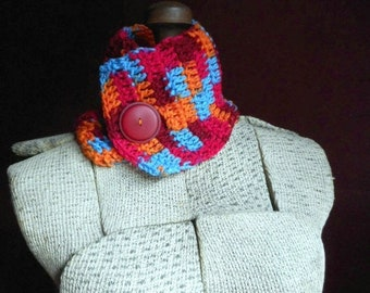 The Sunrise Neck Cowl Crochet Boho-chic Neck Warmer Sun Rise Autumnal One of a kind Gift for Her. Vintage Cranberry Red Celluloid Button