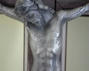 Crucifix in wood and metal, Christ cross, 1930s