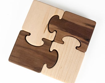 Wood Puzzle Toy, First Toy // Personalized Organic Wood Baby Toy for Babies and Toddlers // Safe Baby Toy Handmade in the USA