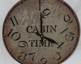 12 Inch CABIN TIME Wall CLOCK in Mixed Shades of Gray and Brown with Cream Highlights and Jumbled Numbers