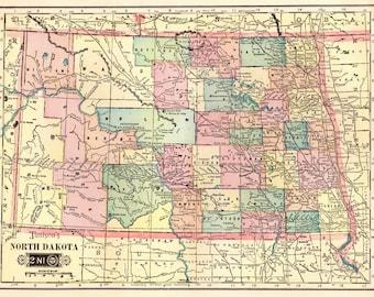 1903 NORTH DAKOTA Map of North Dakota State Map Print  1900s Travel Gallery Wall Art Map Collector Gift for Traveler 798