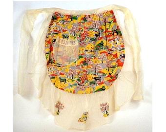 Vintage, Retro, half apron, Homemade, Cooking, Baking, Pocket, Apron, Women's accessories, 1970 apron, Shear fabric, Housewares