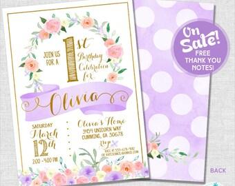 1st Birthday Party Invitation | Girl First Birthday Invitation | ONE Invitation | Gold Invitation | Teen Invitation | Amanda's Parties To Go