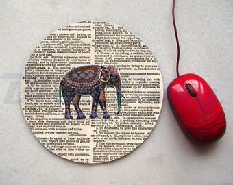 Elephant on Dictionary Mousepad, Office Mousepad, Computer Mouse Pad, Fabric Mousepad