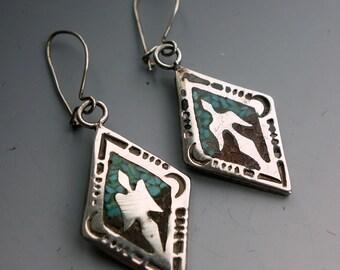 Peyote Bird Turquoise Sterling Earrings