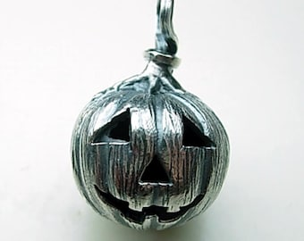 Halloween Jack-o-Lantern Pumpkin Pendant - Handmade in 14k Gold or Sterling Silver