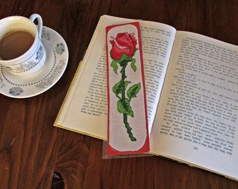 Flower bookmark, Handmade Rose Embroidery bookmark, Unique Book accessory, Original gift, Unique Bookmark, Reader Gift, Teacher Gift