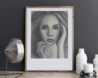Slavic Girl. Illustration art, digital print, signed poster, Art Gift, Fine Print, Portrait Image, Home Decor, illustration