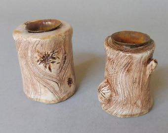 White Log Candle Stick Set (2)