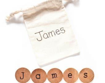 Personalized Name Discs / Kids Stocking Stuffers / Christmas Stocking Stuffers for kids / Wood Alphabet Discs / Montessori Preschool Pre k