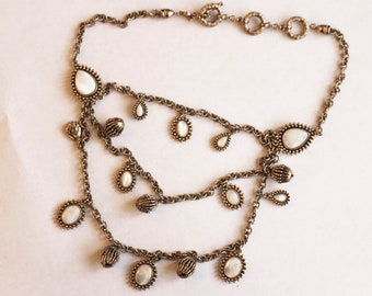 Vintage Monet Mother of Pearl Bid Necklace/Multi Strand Necklace