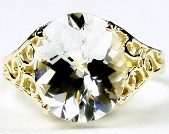 Silver Topaz, 14KY Gold Ring, R057