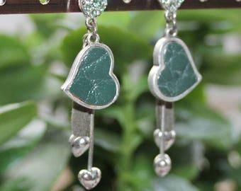 Earrings, earrings, Stud Earrings, vintage, leather heart, Rhinestones, green leather, 925 Silver