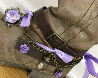Purple Rose Flower Boot Bling with Crystal Bead and Rhinestone Accents // Two Gypsy Boot Bracelet Jewelry Accessories // Boot Candy Pair