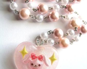 Pearl Bunny Necklace, Pastel Rabbit Heart Pendant, Pink Kawaii Resin, Fairy Kei