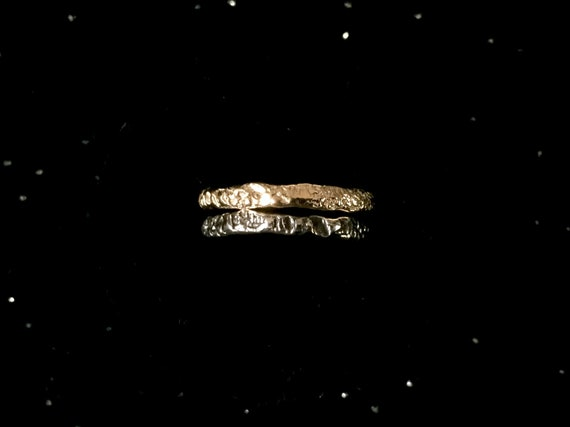 Black + Gold Natural Texture Coral Wedding Band Unique Double Ring Oxidized Solid Sterling Silver + 10k Yellow Gold Stacking Rings Size 3-13
