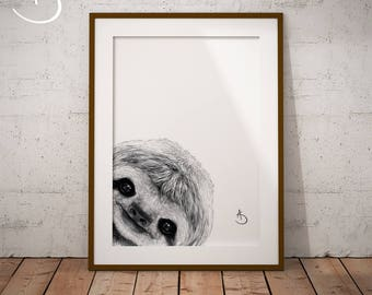 CUTE PEEKABOO SLOTH Drawing download, Sloth Art, Peekaboo Sloth Print, Printable Sloth Poster, Sloth Decor, Peekaboo Animals, Peekaboo Sloth