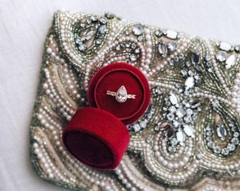 Velvet ring box - vintage style - marsala