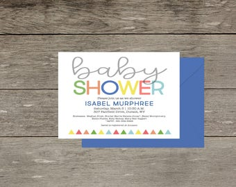 Digital Baby Shower Invitation Modern Minimal Simple Colorful