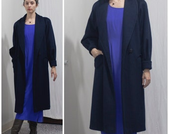 1980s does 40s Navy Wool Coat // Double Breasted Overcoat w Dolman Sleeves sz. M / 8