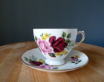 Queen Anne Teacup and Saucer - Bone China - Roses