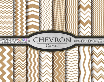 Camel Digital Chevron Paper Pack - Instant Download - Printable Paper with Chevron Pattern for Digital Scrapbooking