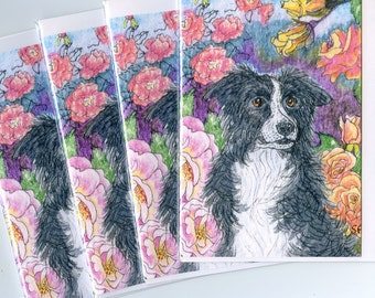4 x Border Collie dog greeting cards - rose grower