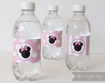 Printable Minnie Mouse Water bottle labels - Instant Download - Minnie Mouse Birthday Party - // MIN-11