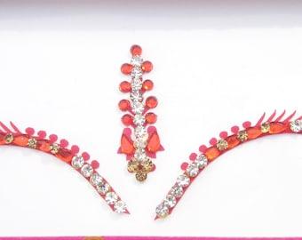 Bridal Forehead Red Bindi Stickers,Wedding Long Bindis,Bridal Red Bindis,Indian Bindi,Bollywood Bindi,Long Red Bindi,Self Adhesive Stickers