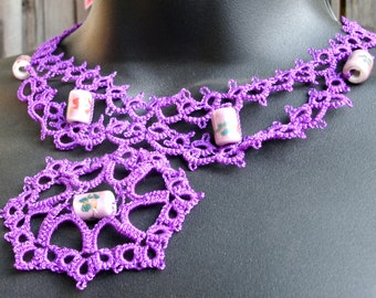 Regal Purple Tatted Lace Necklace with Ceramic Beads