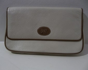Nina Ricci Cream and Tan Leather Clutch w/ Magnetic Clasp