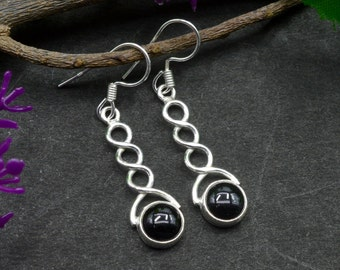Natural Black Onyx Round Gemstone Drop Dangle Earring 925 Sterling Silver E350
