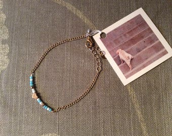 Bracelet with heart in gold and light blue, friendship bracelet friends Ibiza