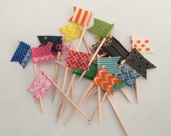 24 Cupcake Topper Flags - Your Choice of Cupcake Toppers - Decorative Toothpicks, Style #2
