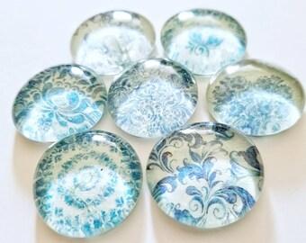 Blue flower magnet, glass fridge magnets, blue floral magnet, blue china, geoswag, geocache, set of 6, refrigerator magnet, bulletin board