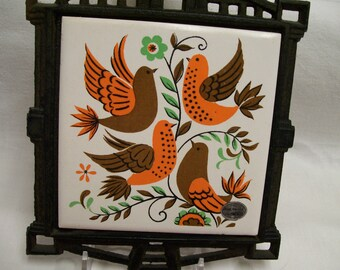 Vintage, Chicken Trivet, Hot Plate, Ceramic Tile, Chicken, Rooster, Orange & Brown, Farmhouse, Kitchen Decor, Hang on Wall or Sit on Counter