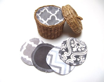 Reusable Facial Rounds, 40, 50, 60 GREY Mix Cosmetic Rounds, Makeup Remover Pads, Eco-Friendly Face Scrubbies, Add on Wash Bag