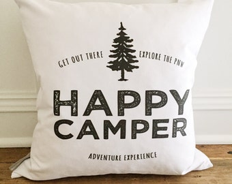 Happy Camper w/Tree Pillow Cover