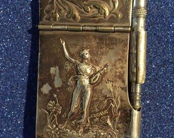 Emile  Dropsy Silverplated Dance Card / Aide Memoire Art Nouveau c1900