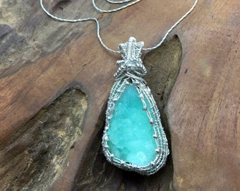 Reserved - Very Rare Botryoidal Sea Green Smithsonite Pendant Necklace, with Sterling and Silver Seed Beads - Handmade in the USA